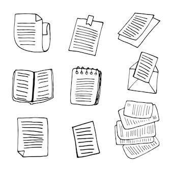 落書きビジネスセットで本の要素を設定します。カード、ポスター、ステッカー、プロのデザインの手描きベクトルイラスト。