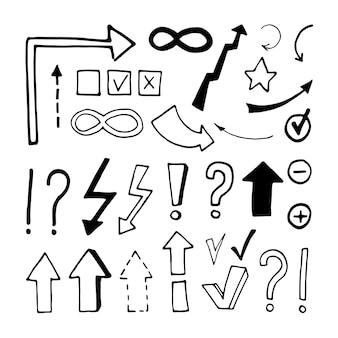 Установите элементы флажка и стрелок в бизнес-наборе каракули. ручной обращается векторные иллюстрации для открыток, плакатов, наклеек и профессионального дизайна.