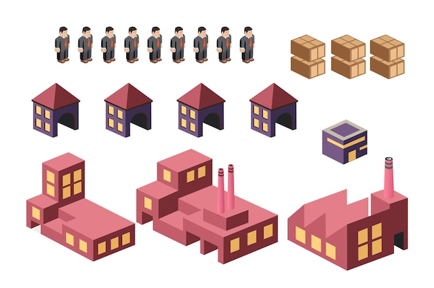 都市をテーマにしたインフォグラフィックの要素を設定します。建物と構造物のセット。