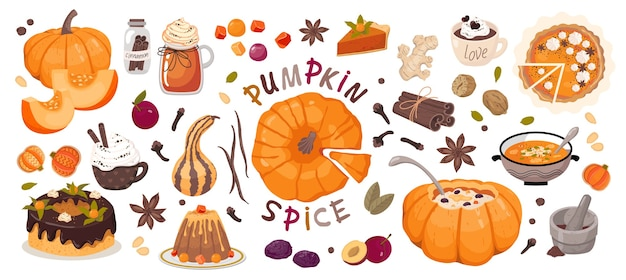 Set of elements pumpkin spice.  white background, isolated.