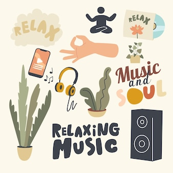 Set of elements relaxing music theme