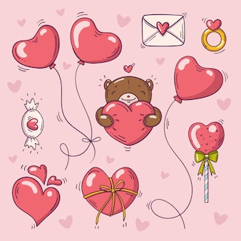Set of elements for st valentines day in doodle style on pink background with hearts