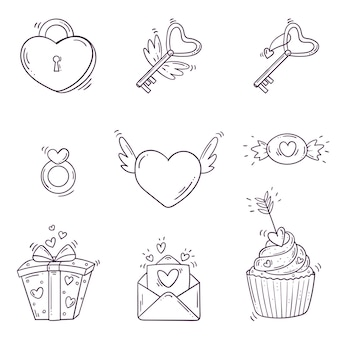 Set of elements for st. valentines day in doodle style.