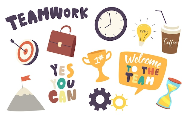 Set of elements teamwork theme
