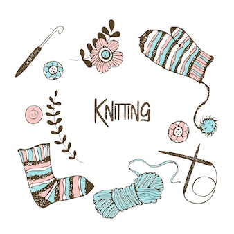A set of elements on the theme of knitting. yarn, knitting needles, mittens, socks.