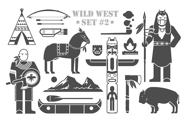 Set of  elements on the theme of wild west. north america indians. life of native americans. the development of america. part two.