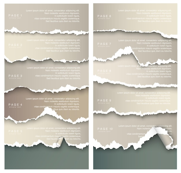 Set of elements transparent design ripped templates torn paper.