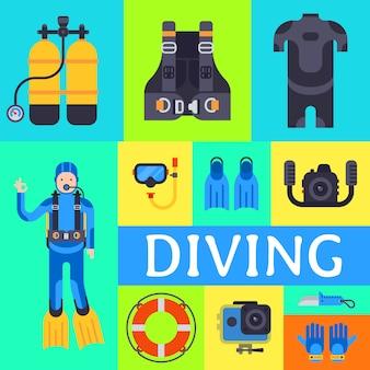 Set of elements underwater diving sport. water diving activity scuba dive equipment.