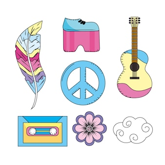 Set elements to used of hippie people