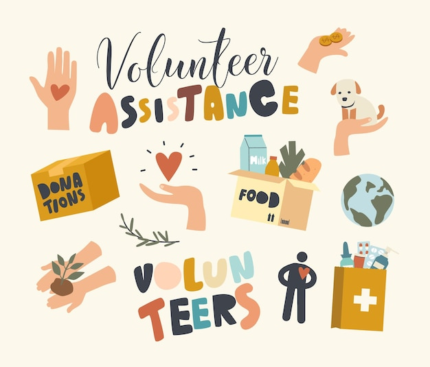 Set of elements volunteer assistance and help to people theme