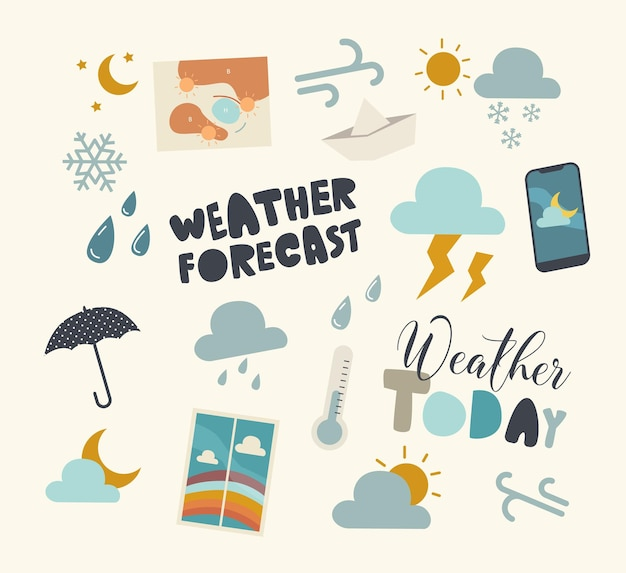 Set of elements of weather forecast, meteorology report theme
