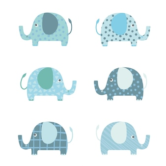 Set elephants cartoon vector