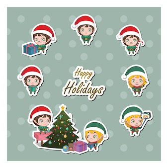 Set of elf stickers