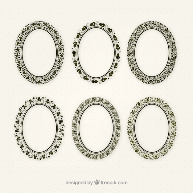Set of ellipse ornamental frames