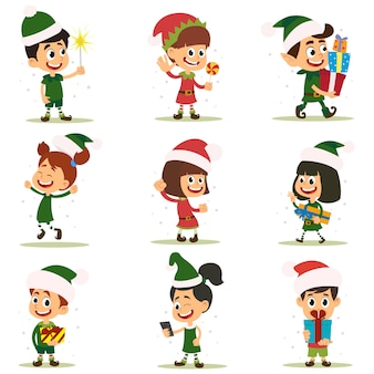 Set of elves kids cartoon character.