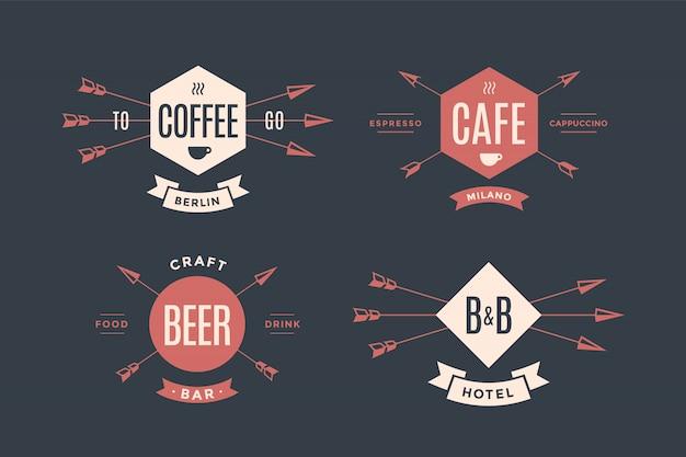 Set of emblem, label and design elements