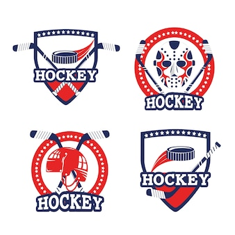 Set emblem with sticks and puck equipment