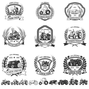 Set of emblem with tractors.  element for logo, label, sign.  illustration