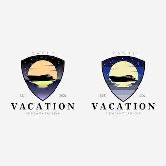 Set emblem yacht vacation logo vector illustration design, luxury