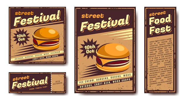 Set of emblems, banners, posters. in retro, vintage, old style. your design and text. metal sign. collection of posters.