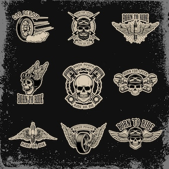 Set of emblems for biker club. car repair. for logo,label, sign, badge.  illustration