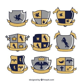Set of emblems of knights