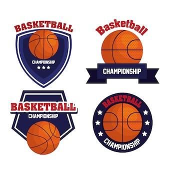 Набор эмблем, чемпионат лиги по баскетболу, дизайны с баскетбольным мячом