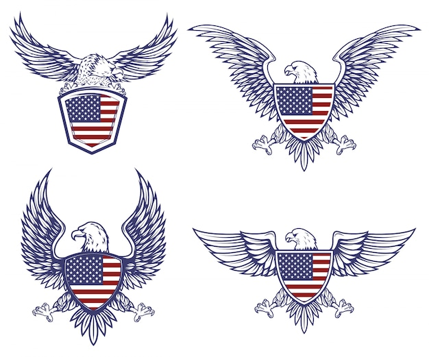 Set of the emblems with eagles on usa flag background.  elements for logo, label, emblem, sign.  illustration