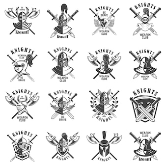 Set of emblems with knights, swords and shields