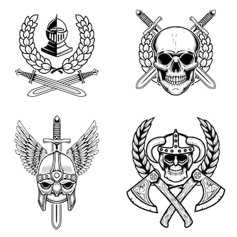 Set of emblems with viking ancient weapons and skulls