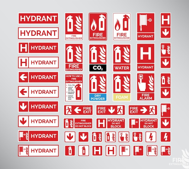 Set of emergency signs (fire extingusher, hydrant, fire exit)