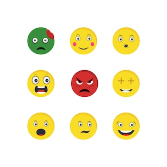 Set of emoji icons on white background vector isolated elements
