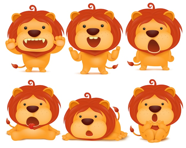 Set of emoji lion cat cartoon character.