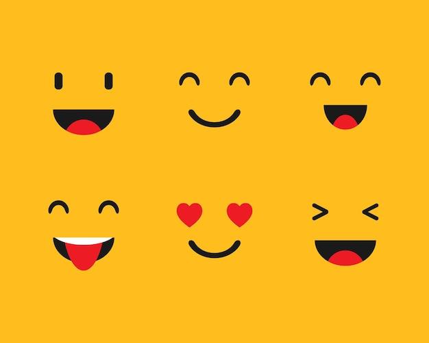 Установите emoji на желтом фоне. векторная иллюстрация. eps 10