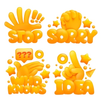 Set of emoji yellow hands in various gestures with titles stop, sorry, who knows, idea.
