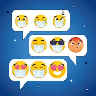 Set emojis in speech bubbles, balloons text with faces emojis chat icons vector illustration design