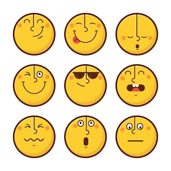 Set of emoticon face emotions