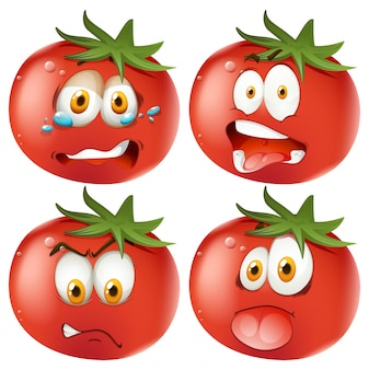 Set of emoticon tomatoes