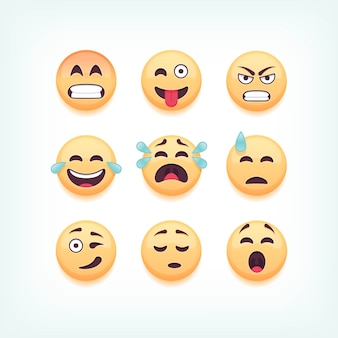 Set of emoticons, emoji  on white background,  illustration.