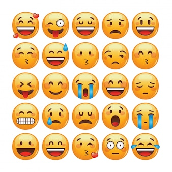 Set of emoticons. isolated   illustration