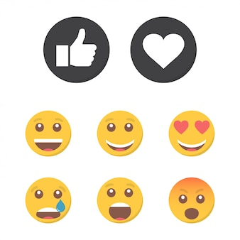 Set of emoticons and like.