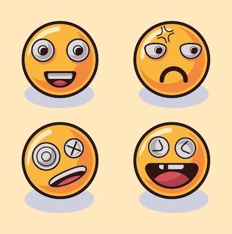 Set of emoticons set of emoji isolated illustration