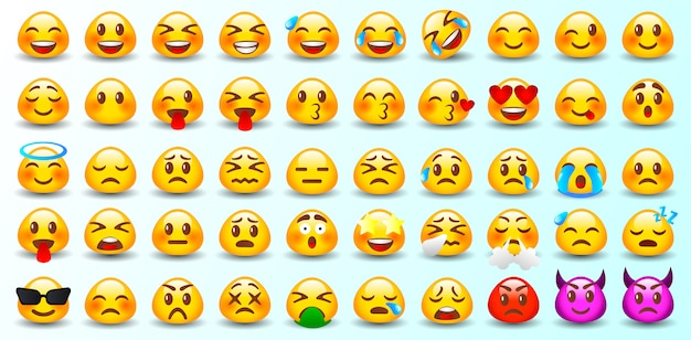 Set of emoticons. set of emoji. isolated.