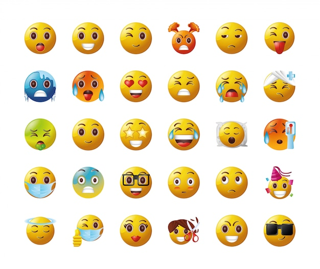 Set of emoticons on white background
