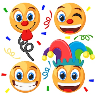 Set of emoticons on a white background