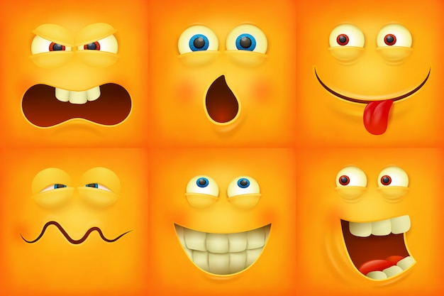 Set of emoticons yellow faces emoji characters icons
