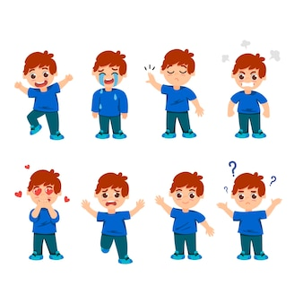 Set of emotions of little boy character