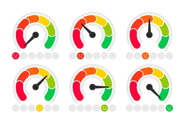 Set of emotions scales, feedback concept. rating meter, smiley like and dislike icons. customer service satisfaction score. the measuring device with different emotions from red to green
