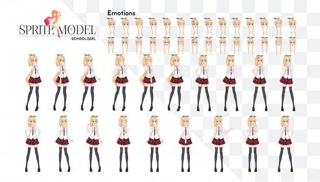 Set of emotions. sprite full length character for game visual novel. anime manga girl, cartoon character in japanese style. in a white shirt, a red skirt in a cage, a tie and black stockings-tights