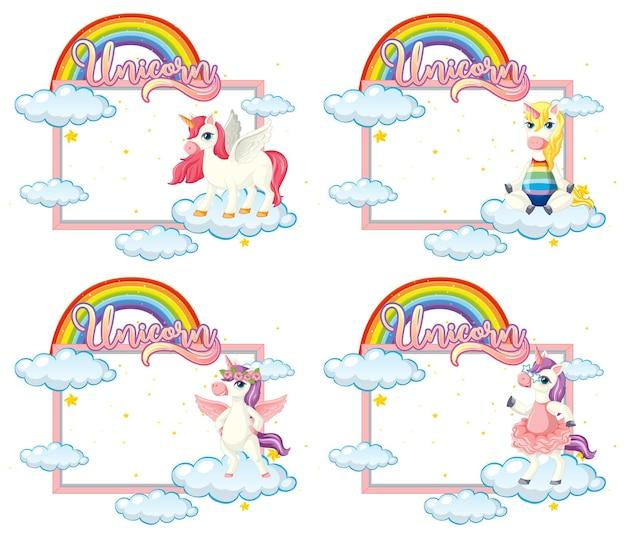 Set di banner vuoto con simpatico personaggio dei cartoni animati di unicorno su bianco